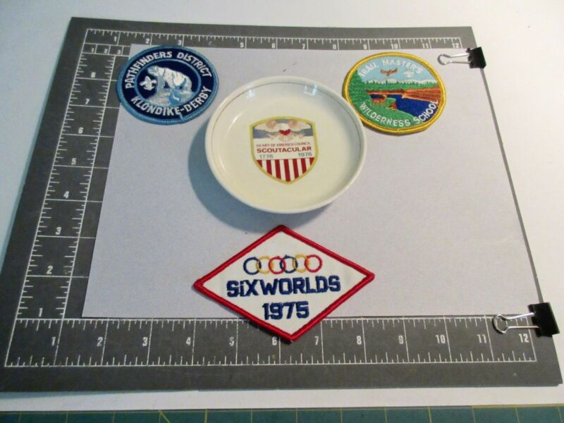 """BSA VTG LOT 4-70s-PATCHES+PATHFINDER SNO-DERBY+SCOUTACULAR"""" PLATE-HOAC-KC, KS/MO"""
