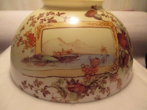 "ANTIQUE~~9 7/8"" SHADE~~THISTLES & SEASIDE SCENE"