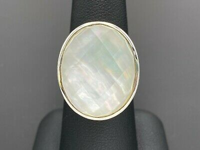 WHITNEY KELLY STERLING SILVER 925 OVAL CHECKERBOARD MOTHER OF PEARL DOUBLET RING