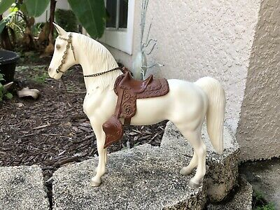 NICE Vintage Breyer Western Horse #59 Glossy White Brown Snap Saddle 1950s Exc