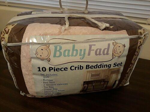 BabyFad 10 Piece Leopard Pink Baby Crib Bedding Set *New*