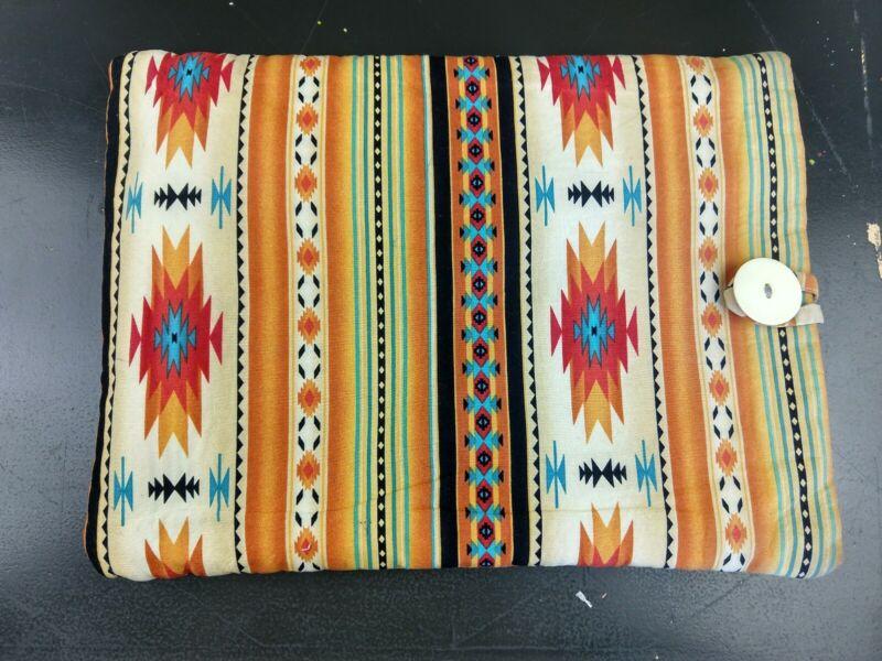 Aztec Native American Navajo Handmade Laptop Case Button Orange Yellow Western
