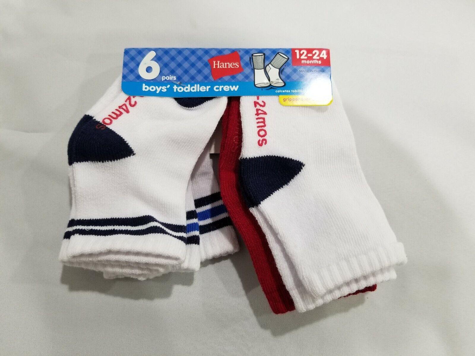 Hanes Boys' Toddler Size 12-24 Months Crew Socks- 6 pack