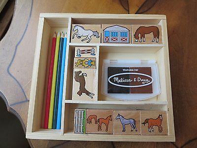 Doug Horses Stamp Set - Melissa & Doug Wooden Horses Stamp Set,10 Wooden Stamps, 5 Colored Pencils, 2 Co