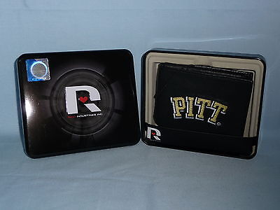 PITTSBURGH Pitt PANTHERS embroidered Leather BiFold Wallet NEW in Tin Box  black ()