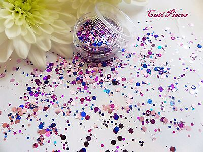 Nail Art Chunky *EnChanted* Purple Pink Blue Mix Hexagon Glitter Spangle Tip Pot