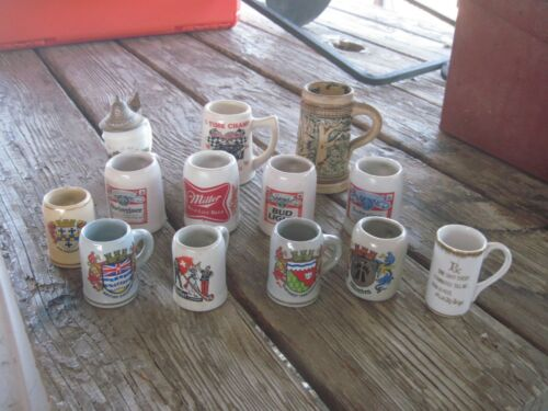"12 Miniature(2"" to 4"" tall) Beer Steins, Variety of Designs, Antique to Now"
