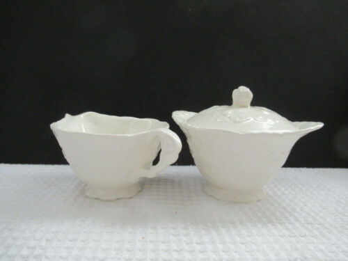 Vintage STEUBENVILLE USA ROSE POINT Creamer & Sugar Bowl w/Lid Set NICE!