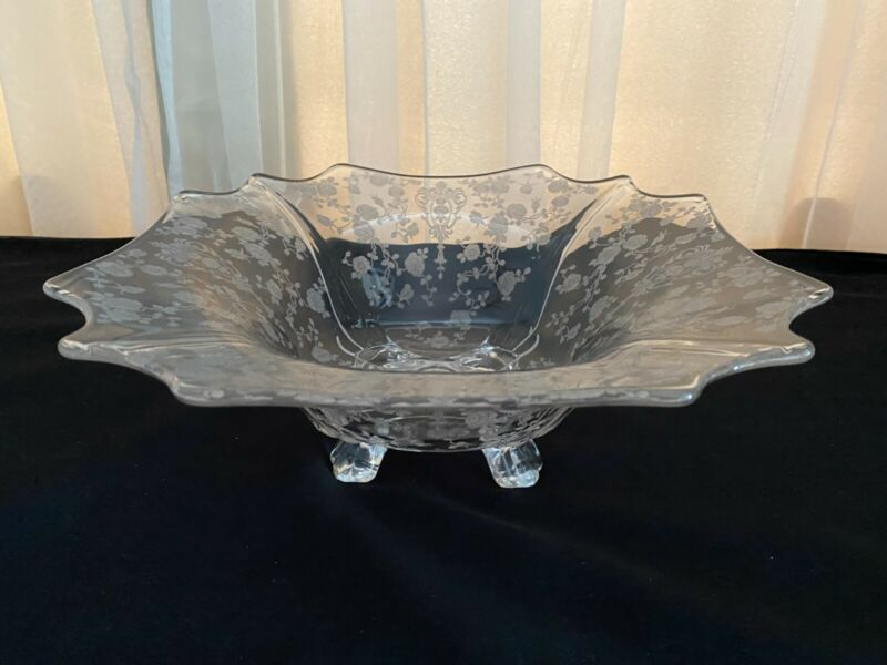 "~Cambridge Glass~Rosepoint Etched~ 12"" Square ~4 Footed~ Flared Bowl~"