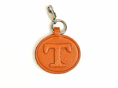 Alphabet/Initial T Handmade Leather Keychain/Charm *VANCA* Made in Japan #26391
