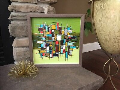 Mid Century Modern Abstract Acrylic Painting Green Blue Orange