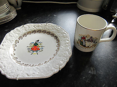Lovely Vintage Hanging plate & mug depicting WALES by Lord Nelson Pottery