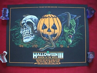 HALLOWEEN III 3 MONDO ORIGINAL MOVIE POSTER ART PRINT SEASON OF THE WITCH MASKS (Halloween The Movie Mask Origin)