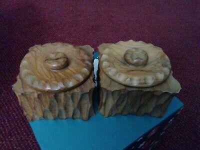 Wooden pots. Vintage Hand-Carved. x2 with Lid & Plastic Liner.
