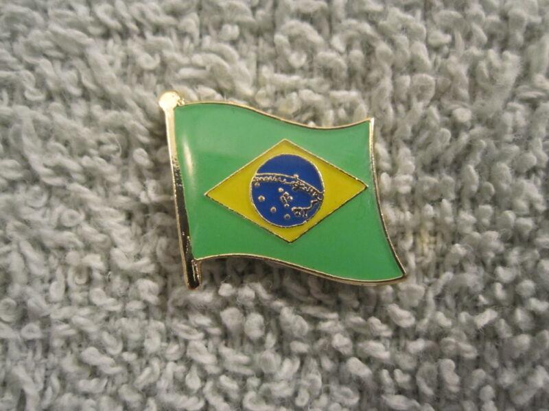 """Brazil National Colors Flag Lapel Pin """"Brasil"""" Brass/Enamel Brazil Flag Pin"""