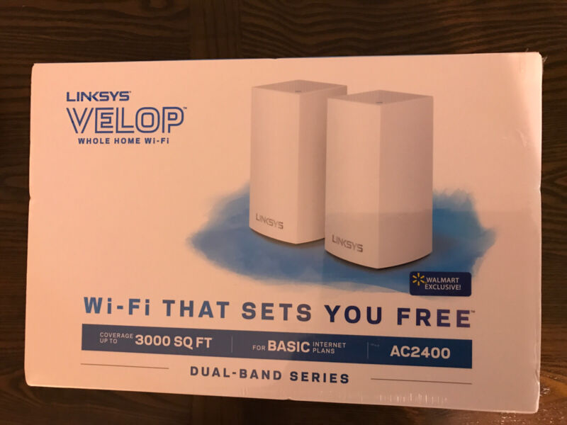 Linksys Velop AC2400, Up To 3000SQ FT, Dual-Band, 2-Pack, White, Brand New