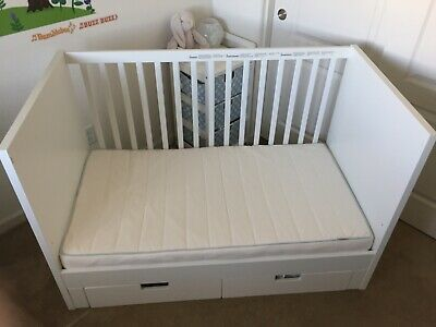 IKEA STUVA crib, white. Barely used. Infant to toddler. Mattress included