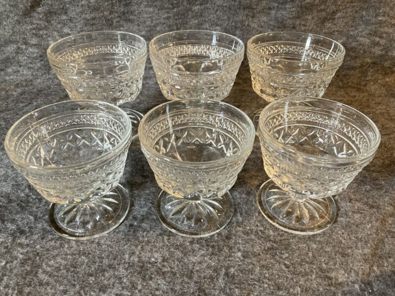 Set Of 6 Vintage Anchor Hocking Wexford Clear Glass Dessert Cups Sherbet Dishes