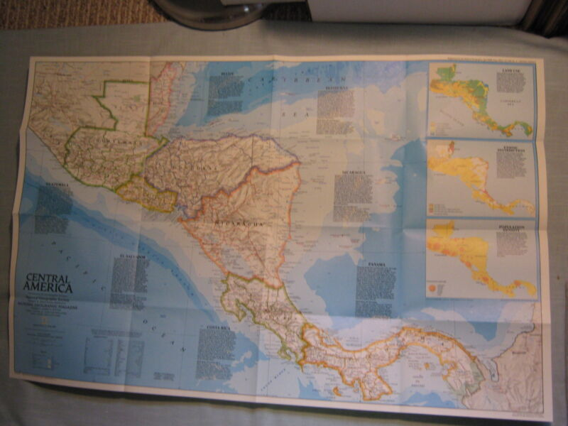 CENTRAL AMERICA PAST & PRESENT MAP National Geographic April 1986 MINT