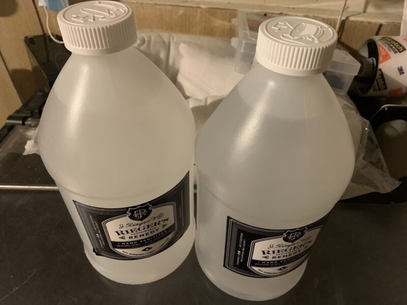 J. RIEGER'S SUSTAINABLE REMEDY 2 LITER BOTTLES SANITIZER SEALED MADE IN USA NEW