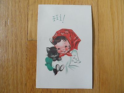 Vintage Norcross Christmas-Greeting Card Cute Girl with Kitten