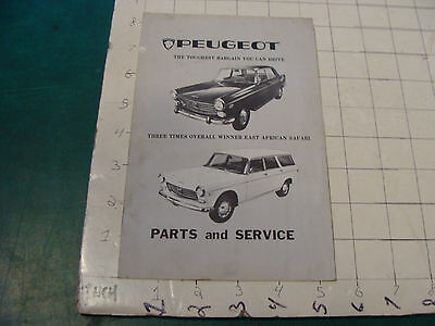 vintage Original auto dealership item: PEUGEOT parts and service SEPT 1967 LIST