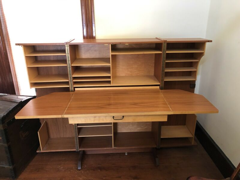 "Mid Century Teak Hide-a-desk called ""The Organizer"" Home Office."