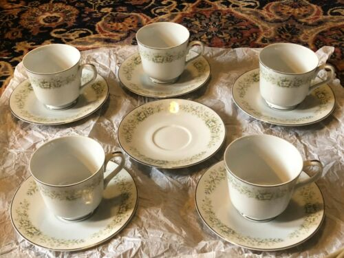 Dream Time Oxford 5 Cup and 6 Saucer Plate Pastel Floral Platinum Trim Japan 530
