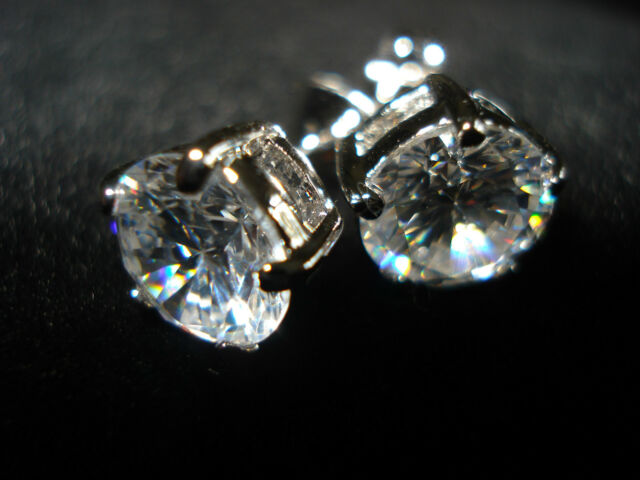 platinum stud earrings with swarovski crystals stunning size 8mm handmade