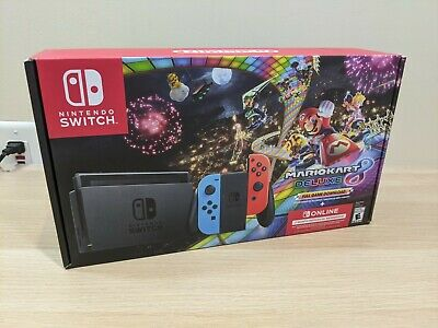 Nintendo Switch V2 Console Neon Red Blue Joy-Con with Mario Kart 8 Deluxe Bundle