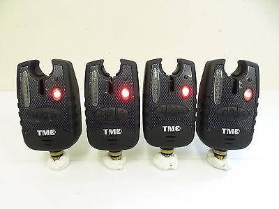 4 x Carp Bite Alarms - Red Running LED's, Dropbacks, 2.5mm Jacks, Latching LED