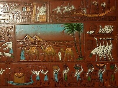 Vintage Egyptian Painted and tooled leather photograph album