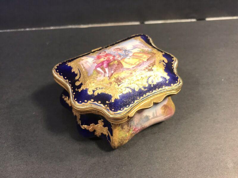 Rare Antique Sevres Porcelain Box (Bobonière). France Circa 1850/ 2 Miniatures