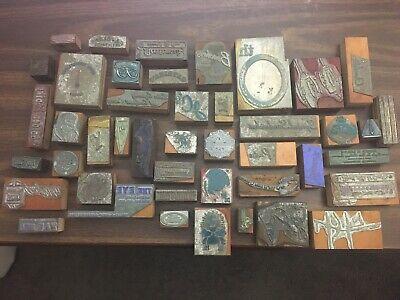 Lot Of Large Antique Vintage Wood Metal Letterpress Type Printer Block Cuts