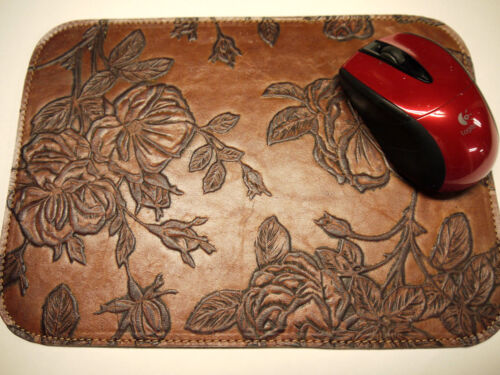 Leather Mouse Pad Floral Unique Design Made in USA Light Brown