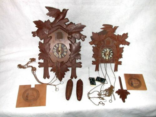 """Lot Of 2 Vintage Cuckoo Clocks Parts Or Repair 15"""" x 11"""" & 11 x 8 1/2"""" Germany"""