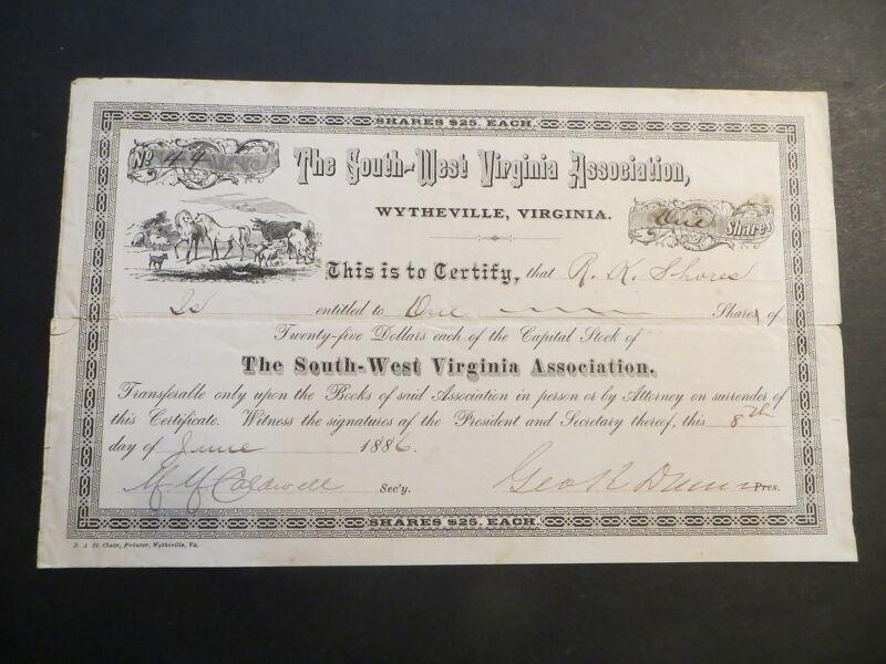 South - West Virginia Association Wytheville VA 1886 Certificate #44 for 1 share