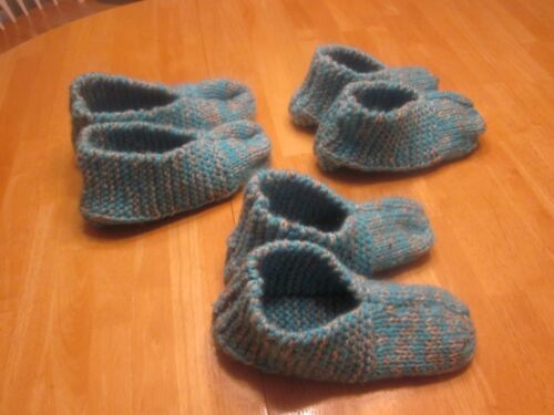 SLIPPERS HAND KNIT BOOTIES HOUSE SLIPPERS SOCKS WARM DURABLE Wool w Acrylic SML