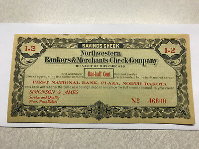 1St Nat  Bank Plaza N D  Northwestern Bankers   Merchants Check Company 1 2 Cent