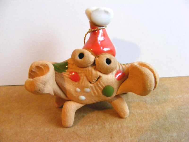 Little Guys Santa Crab Christmas Ornament Miniature Cindy Pacileo Pottery