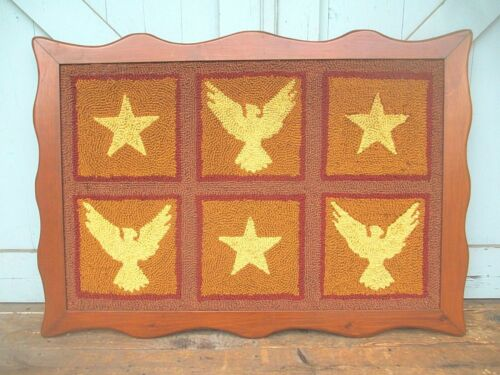 "FRAMED hooked ? RUG AMERICANA patriotic military eagle stars flag 28"" x 41"" VTG"