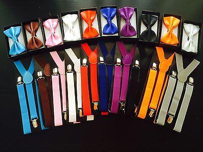 Men Women Elastic Suspenders & Bow Tie Matching Set Tuxedo Suit Unisex Bowtie