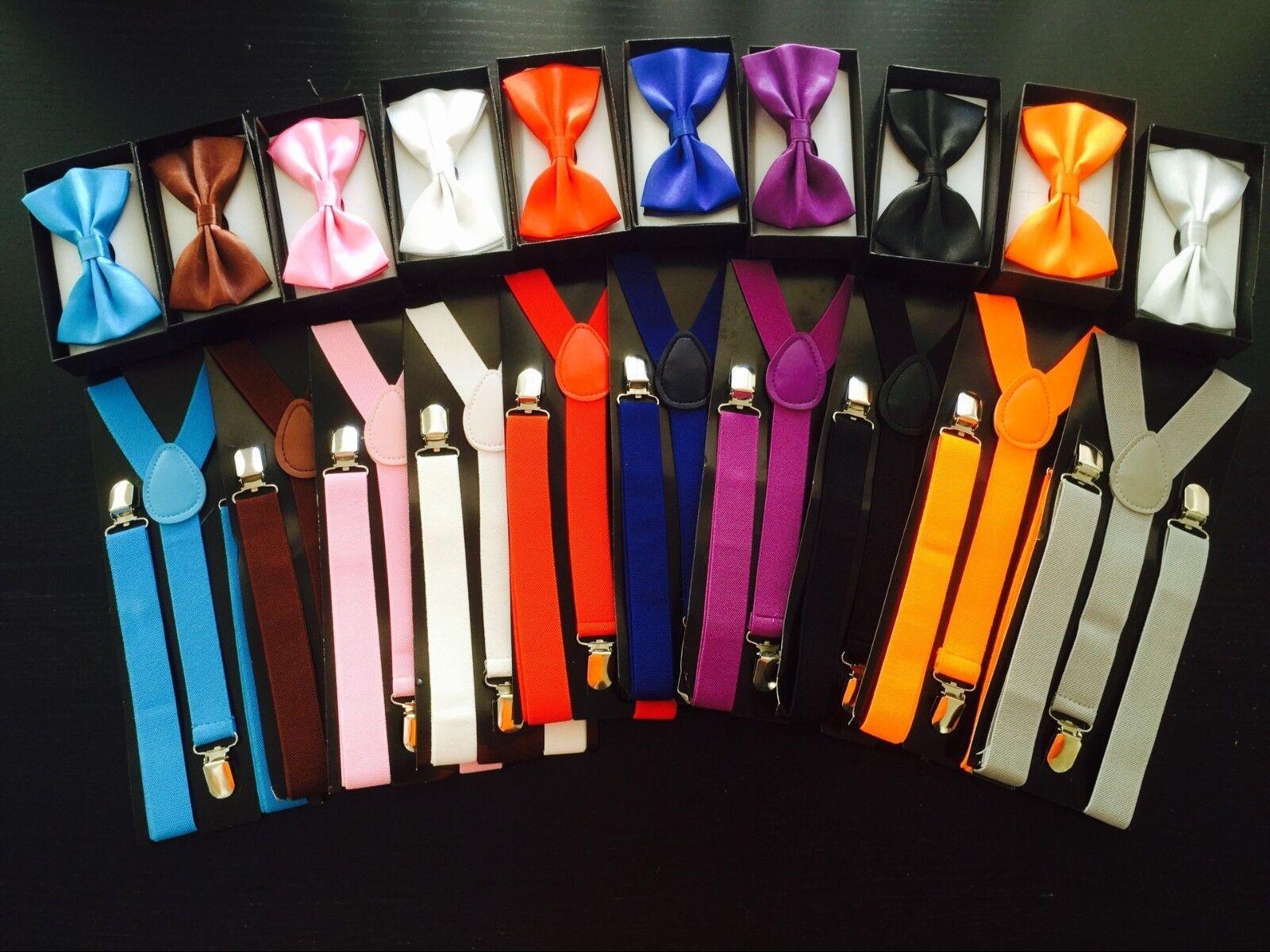 Men Women Elastic Suspenders & Bow Tie Matching Set Tuxedo S