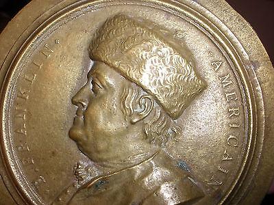 Antique Benjamin Franklin fur hat bronze medallion medal att Jean Baptiste Nini