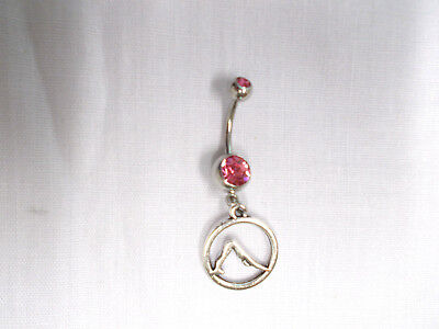 ROUND DOWNWARD DOG YOGA POSE CHARM on 14g HOT PINK CZ NAVEL BELLY RING BARBELL Circular Barbell Belly Ring