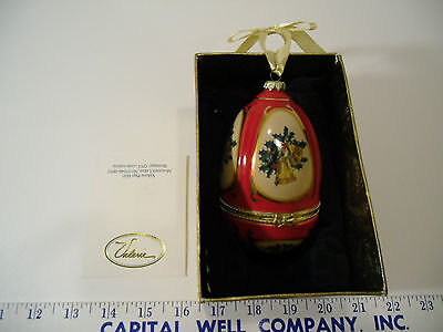 """QVC Musical Christmas Tree Egg Ornament by Valerie Parr Hill, """"Joy to the World"""""""