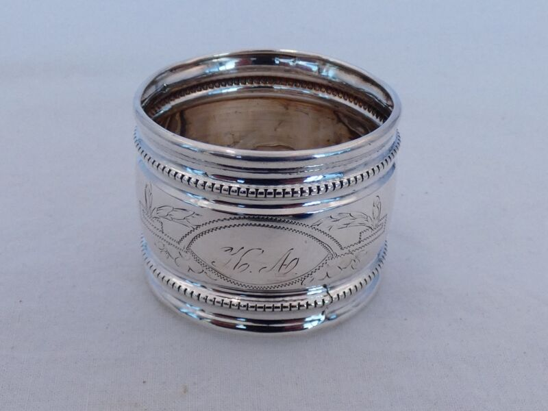 Antique .800 Silver Large Round Napkin Ring LU-35