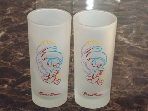 (2) 1995 Marvin Martian Frosted Glass Warner Brothers Collectible