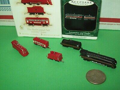 Hallmark Lot Train Lionel The Red Comet Set & 746 Norfolk Miniature Ornaments