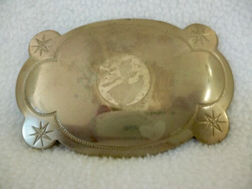 "VINTAGE POLISHED NICKEL SILVER BELT BUCKLE  3.75"" X  2.5"" ETCHED BORDER STARS"